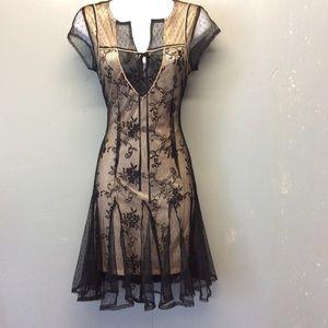 Sz S Double Zero Black and Nude Dress GORGEOUS!!!